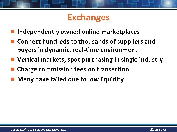 Exchanges n n n Independently owned online marketplaces Connect hundreds to thousands of suppliers