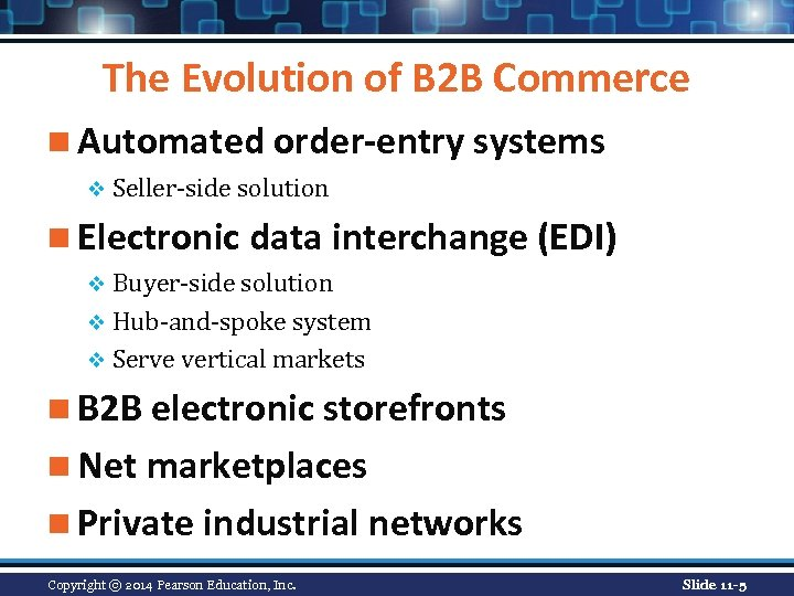 The Evolution of B 2 B Commerce n Automated order-entry systems v Seller-side solution