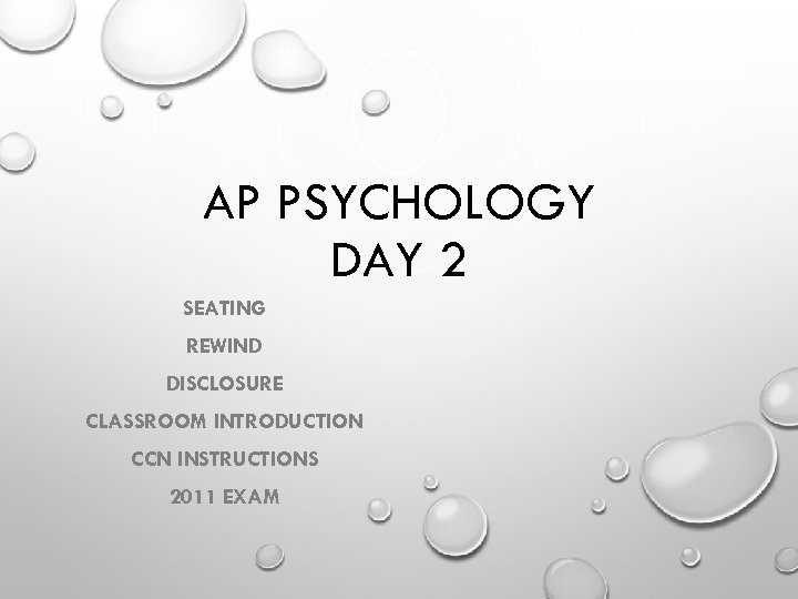AP PSYCHOLOGY DAY 2 SEATING REWIND DISCLOSURE CLASSROOM INTRODUCTION CCN INSTRUCTIONS 2011 EXAM