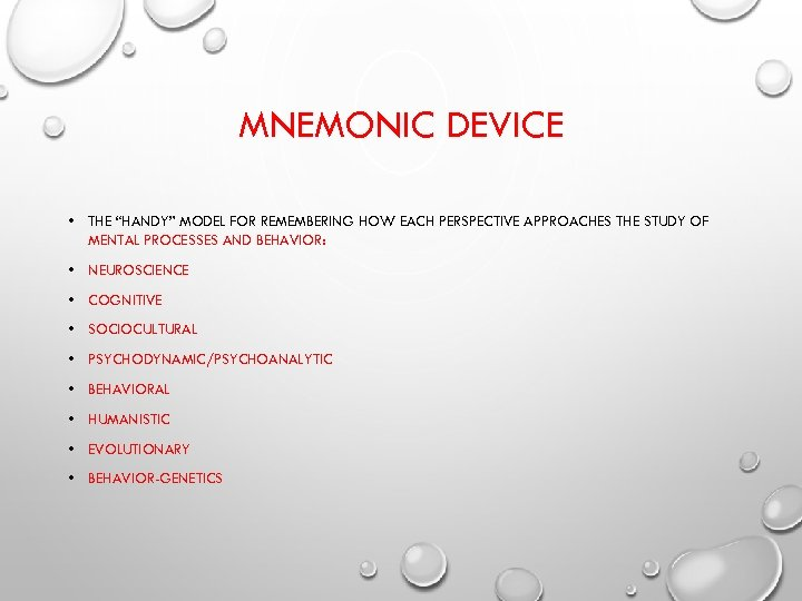 "MNEMONIC DEVICE • THE ""HANDY"" MODEL FOR REMEMBERING HOW EACH PERSPECTIVE APPROACHES THE STUDY"