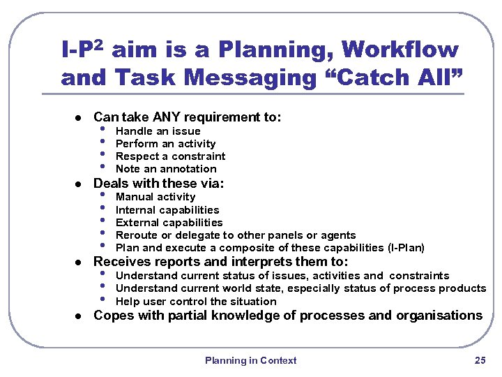 "I-P 2 aim is a Planning, Workflow and Task Messaging ""Catch All"" l l"