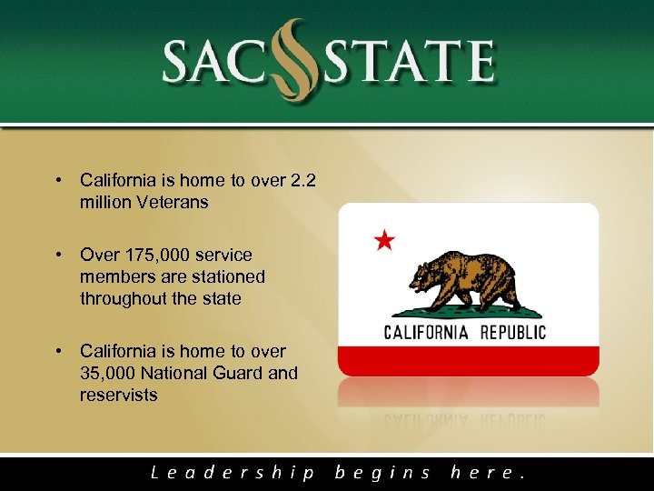 • California is home to over 2. 2 million Veterans • Over 175,