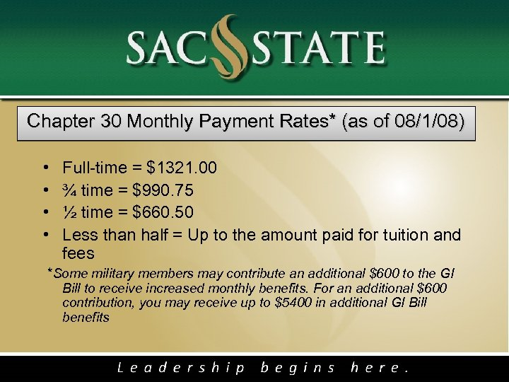 Chapter 30 Monthly Payment Rates* (as of 08/1/08) • • Full-time = $1321. 00