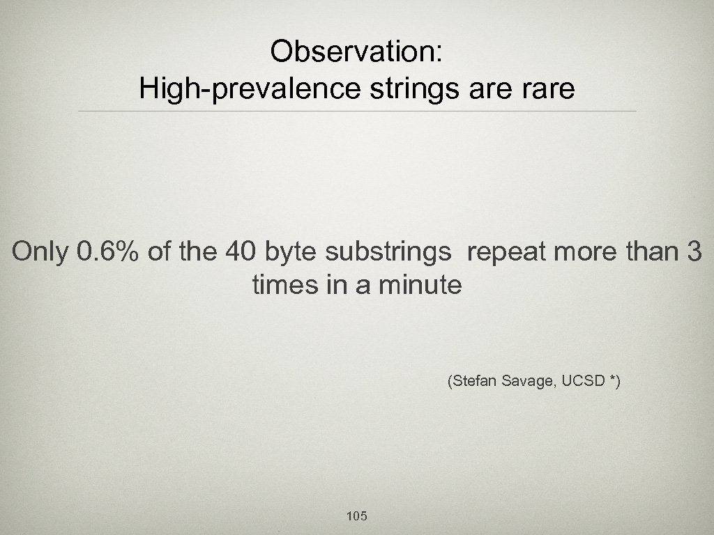 Observation: High-prevalence strings are rare Only 0. 6% of the 40 byte substrings repeat