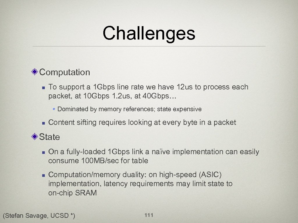Challenges Computation n To support a 1 Gbps line rate we have 12 us