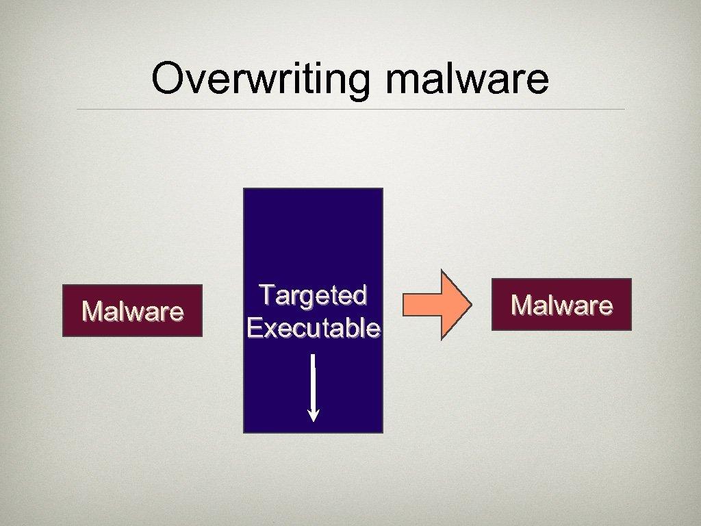 Overwriting malware Malware Targeted Executable Malware