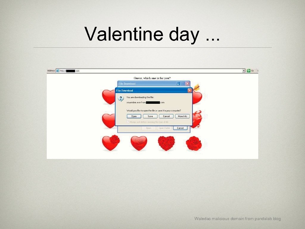 Valentine day. . . Waledac malicious domain from pandalab blog