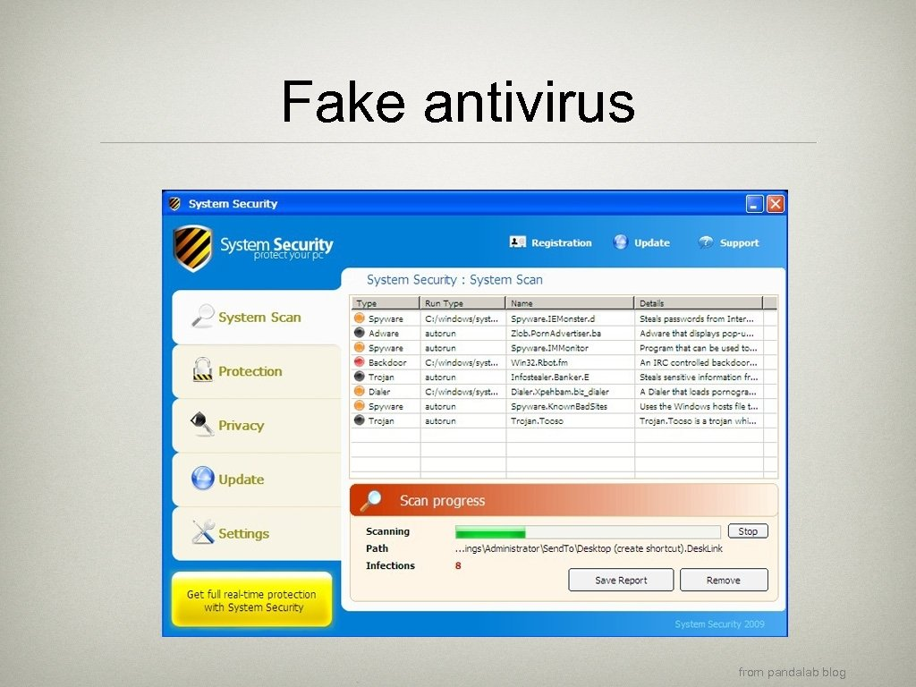 Fake antivirus from pandalab blog