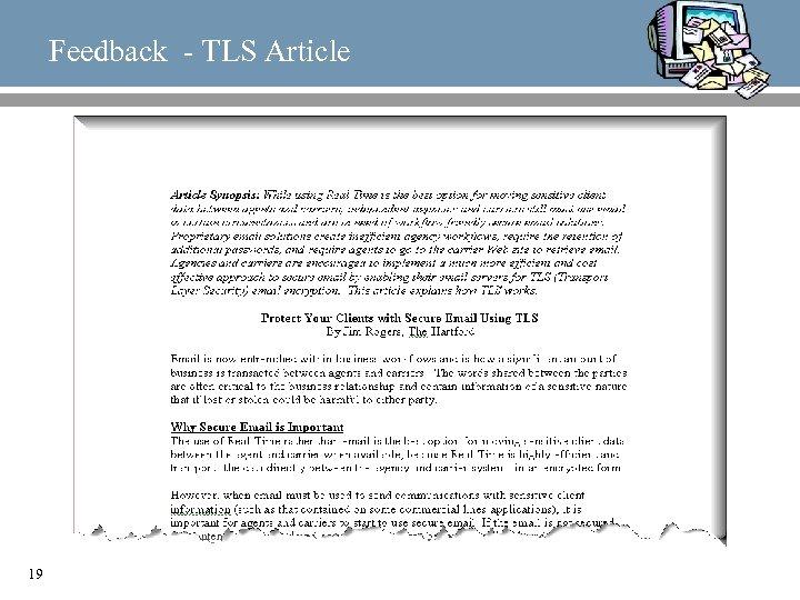 Feedback - TLS Article 19