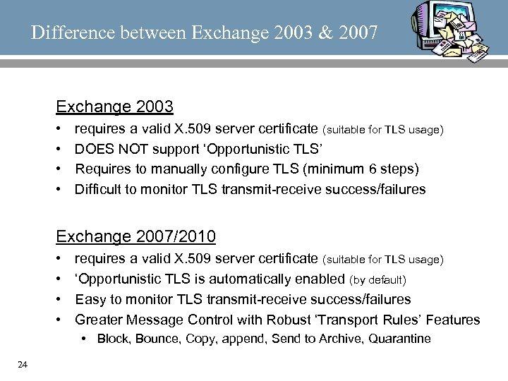 Difference between Exchange 2003 & 2007 Exchange 2003 • • requires a valid X.