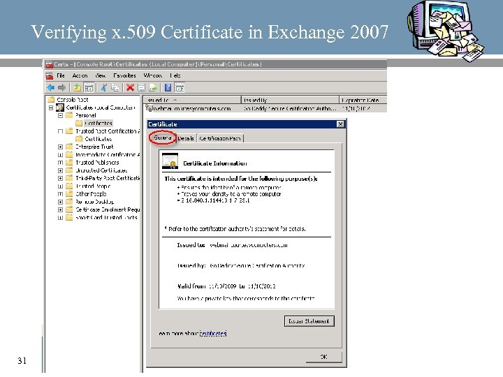 Verifying x. 509 Certificate in Exchange 2007 31