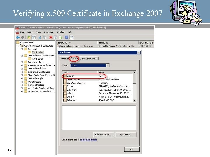 Verifying x. 509 Certificate in Exchange 2007 32