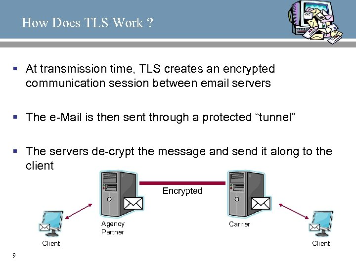 How Does TLS Work ? § At transmission time, TLS creates an encrypted communication