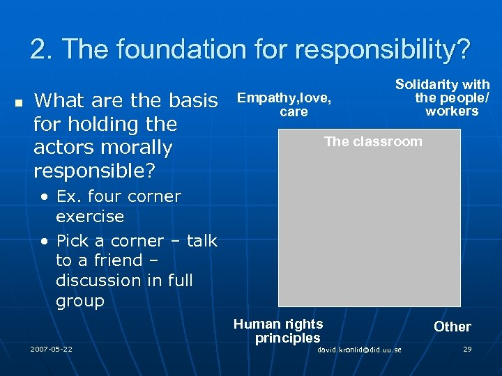 2. The foundation for responsibility? n What are the basis for holding the actors
