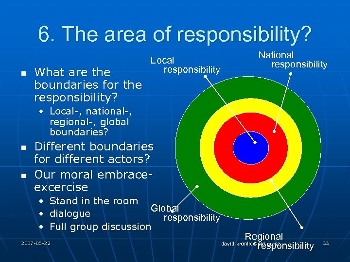 6. The area of responsibility? n What are the boundaries for the responsibility? Local