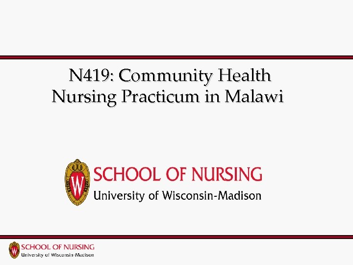 N 419: Community Health Nursing Practicum in Malawi