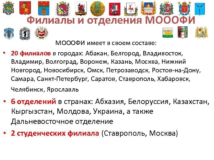 Филиалы и отделения МОООФИ имеет в своем составе: • 20 филиалов в городах: Абакан,