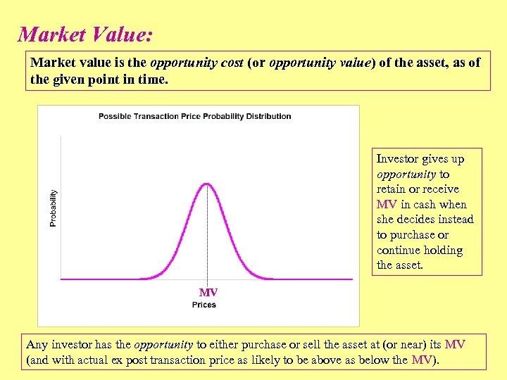 Market Value: Market value is the opportunity cost (or opportunity value) of the asset,