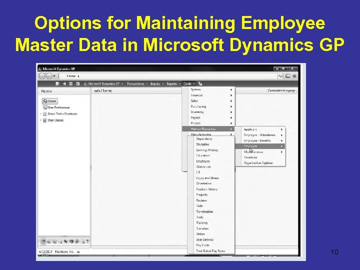 Options for Maintaining Employee Master Data in Microsoft Dynamics GP 10