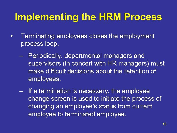 Implementing the HRM Process • Terminating employees closes the employment process loop. – Periodically,
