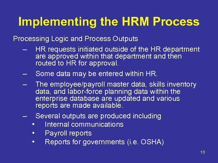 Implementing the HRM Processing Logic and Process Outputs – HR requests initiated outside of
