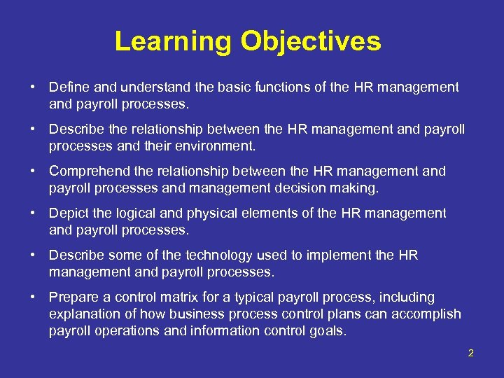 Learning Objectives • Define and understand the basic functions of the HR management and