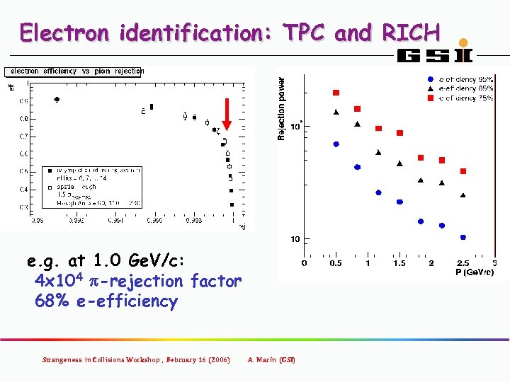 Electron identification: TPC and RICH e. g. at 1. 0 Ge. V/c: 4 x