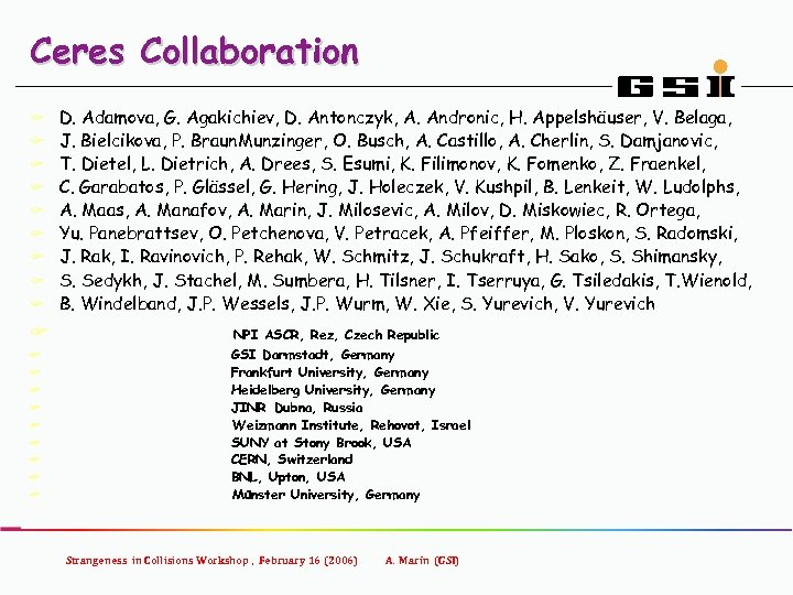 Ceres Collaboration F F F F F D. Adamova, G. Agakichiev, D. Antonczyk, A.