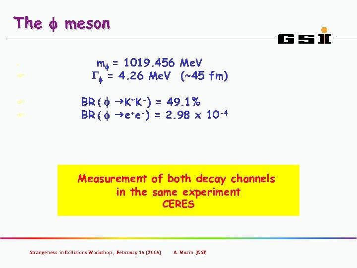 The f meson F mf = 1019. 456 Me. V Gf = 4. 26