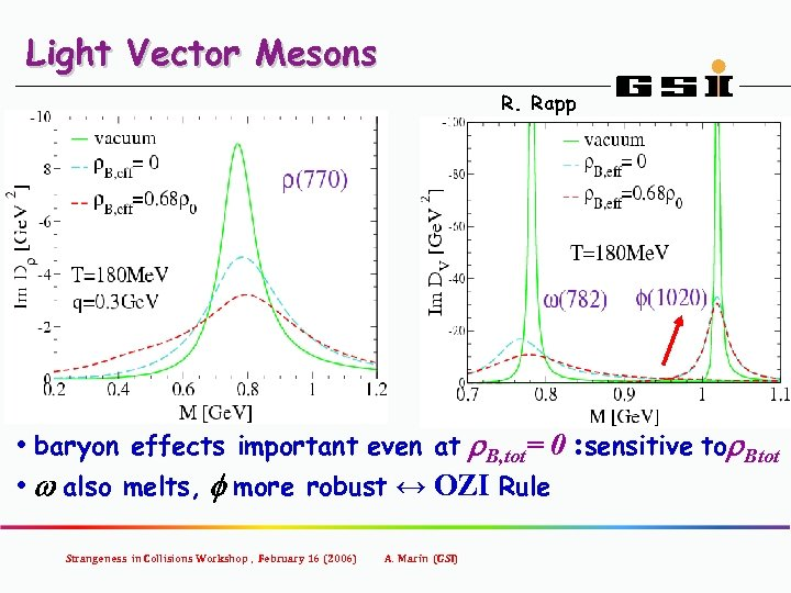 Light Vector Mesons R. Rapp • baryon effects important even at r. B, tot=