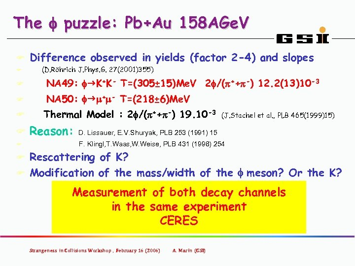 The f puzzle: Pb+Au 158 AGe. V F F Difference observed in yields (factor
