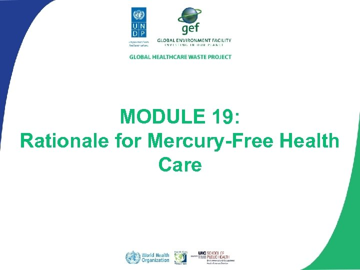 MODULE 19: Rationale for Mercury-Free Health Care
