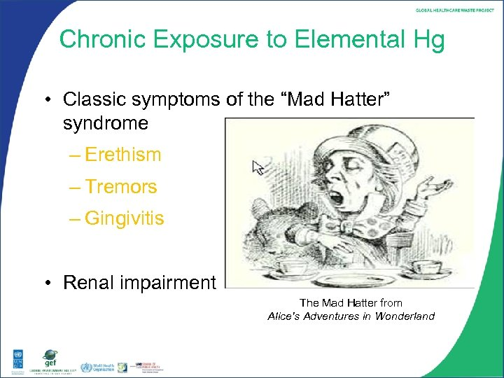 """Chronic Exposure to Elemental Hg • Classic symptoms of the """"Mad Hatter"""" syndrome –"""