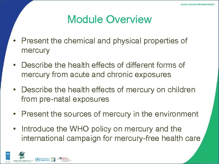 Module Overview • Present the chemical and physical properties of mercury • Describe the