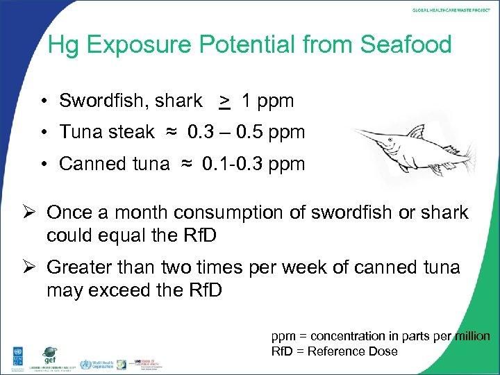 Hg Exposure Potential from Seafood • Swordfish, shark > 1 ppm • Tuna steak