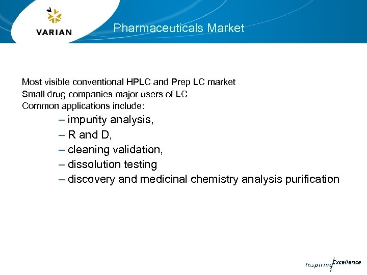 Pharmaceuticals Market Most visible conventional HPLC and Prep LC market Small drug companies major