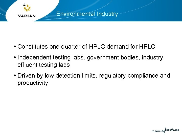 Environmental Industry • Constitutes one quarter of HPLC demand for HPLC • Independent testing