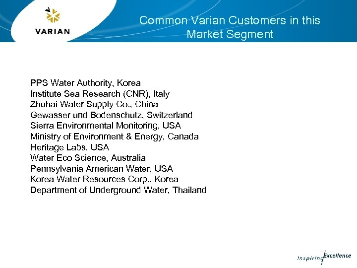 Common Varian Customers in this Market Segment PPS Water Authority, Korea Institute Sea Research