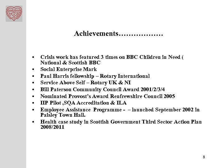Achievements……………… • • • Crisis work has featured 3 times on BBC Children in