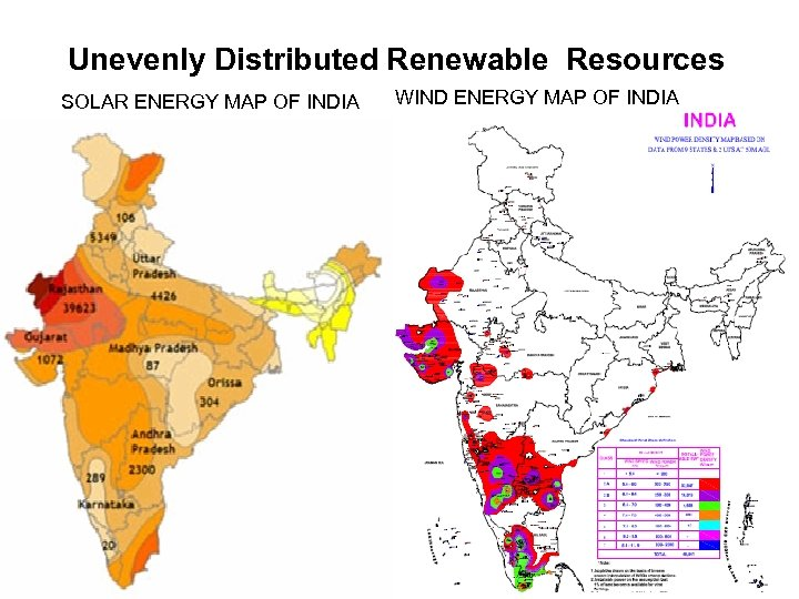 Unevenly Distributed Renewable Resources SOLAR ENERGY MAP OF INDIA WIND ENERGY MAP OF INDIA