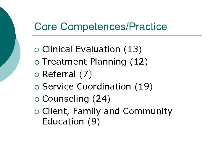 Core Competences/Practice Clinical Evaluation (13) ¡ Treatment Planning (12) ¡ Referral (7) ¡ Service