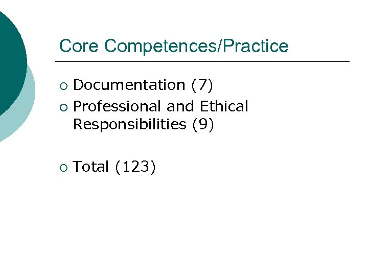 Core Competences/Practice Documentation (7) ¡ Professional and Ethical Responsibilities (9) ¡ ¡ Total (123)