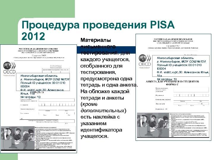 Процедура проведения PISA 2012 Материалы Новосибирская область г. Новосибирск, МОУ СОШ № 138 Полный