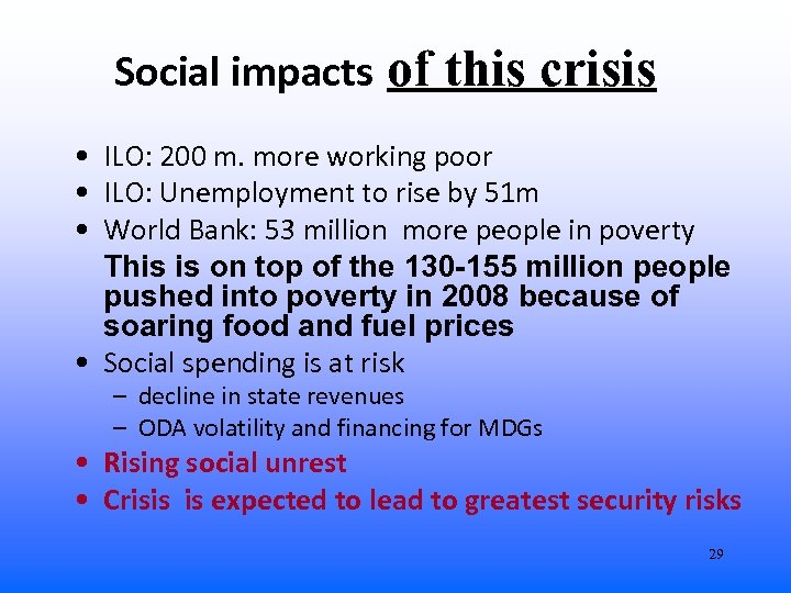 Social impacts of this crisis • ILO: 200 m. more working poor • ILO: