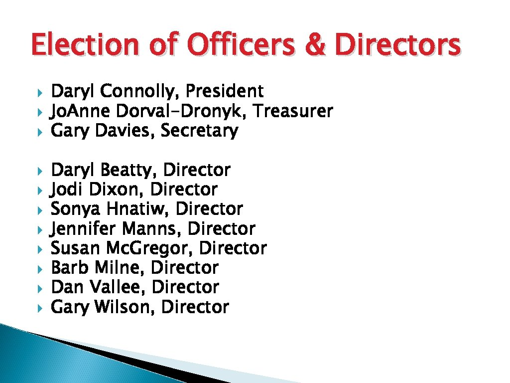 Election of Officers & Directors Daryl Connolly, President Jo. Anne Dorval-Dronyk, Treasurer Gary Davies,