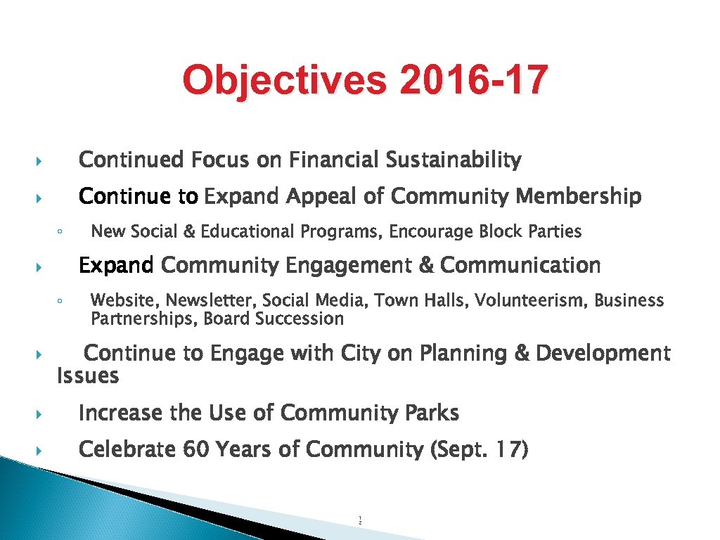 Objectives 2016 -17 Continued Focus on Financial Sustainability Continue to Expand Appeal of Community