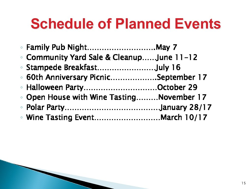 Schedule of Planned Events ◦ ◦ ◦ ◦ Family Pub Night……………. May 7 Community