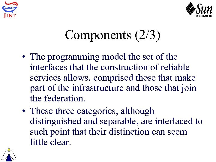 Components (2/3) • The programming model the set of the interfaces that the construction
