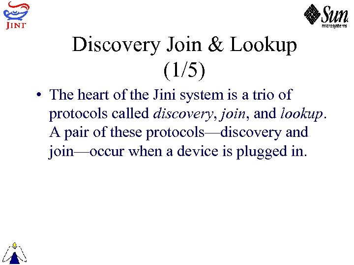 Discovery Join & Lookup (1/5) • The heart of the Jini system is a