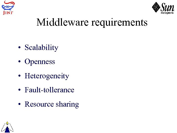 Middleware requirements • Scalability • Openness • Heterogeneity • Fault-tollerance • Resource sharing